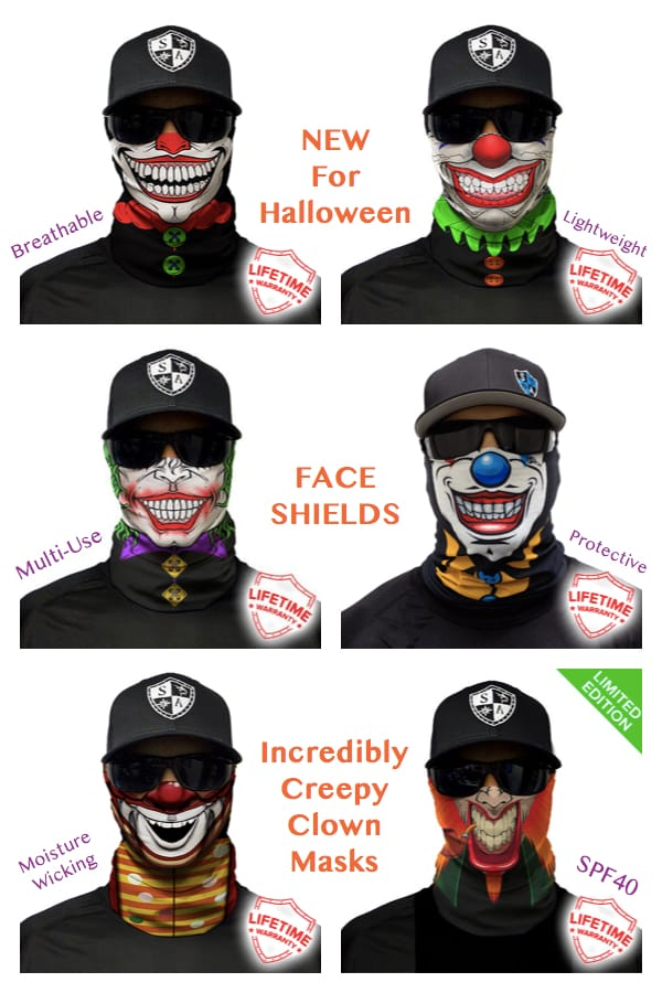 Incredibly Creepy Breathable Face Shield Clown Masks