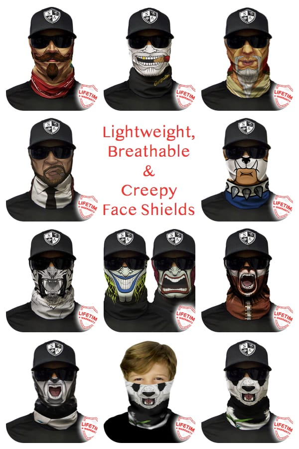Lightweight, Breathable Creepy Face Shield Masks