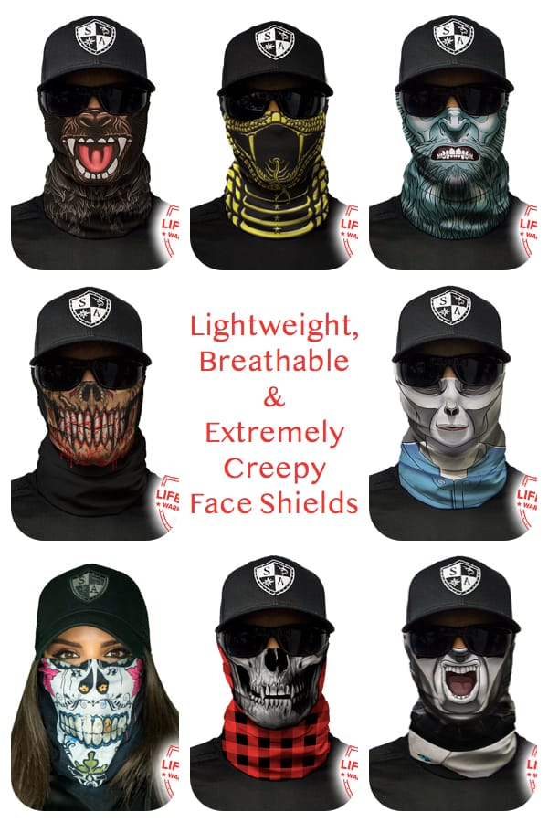 Lightweight, Breathable Extremely Creepy Face Shield Masks