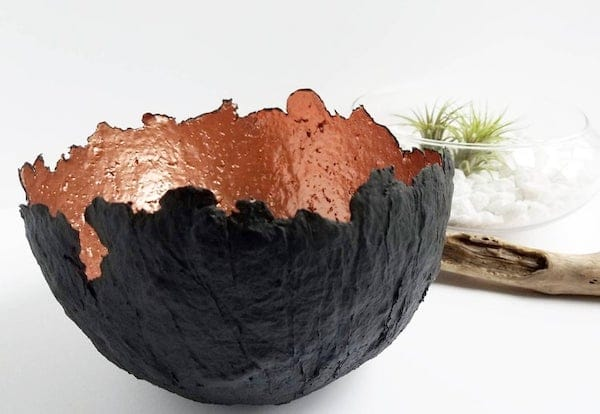 Black and copper recycled paper pulp eco friendly bowl