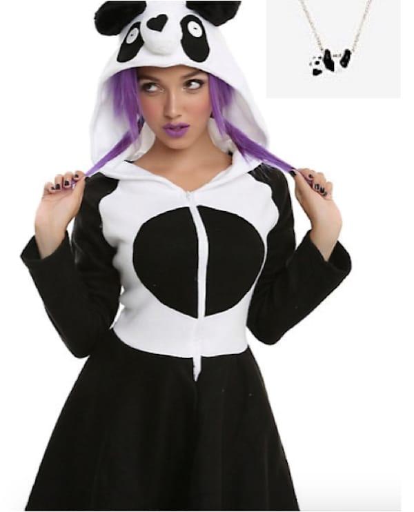 Costy Panda Dress and Panda Necklace Halloween Costume