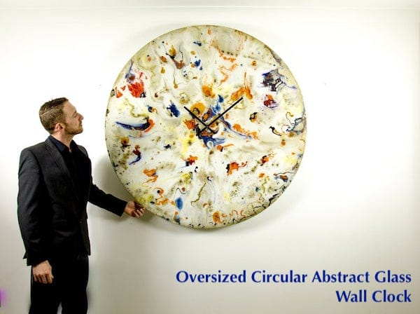 Oversized Circular Abstract Glass Wall Clock Art