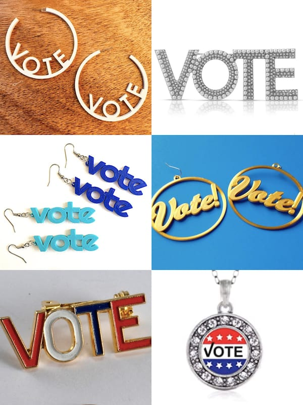 Get Out the Vote Jewelry Earrings and Brooches