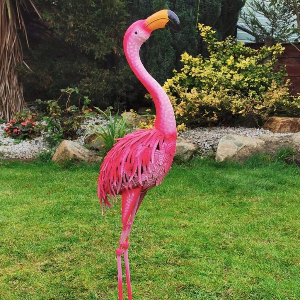 Garden Pink Metal Flamingo Statues
