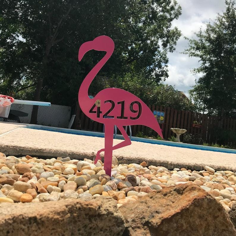 Metal Flamingo Custom Address Sign