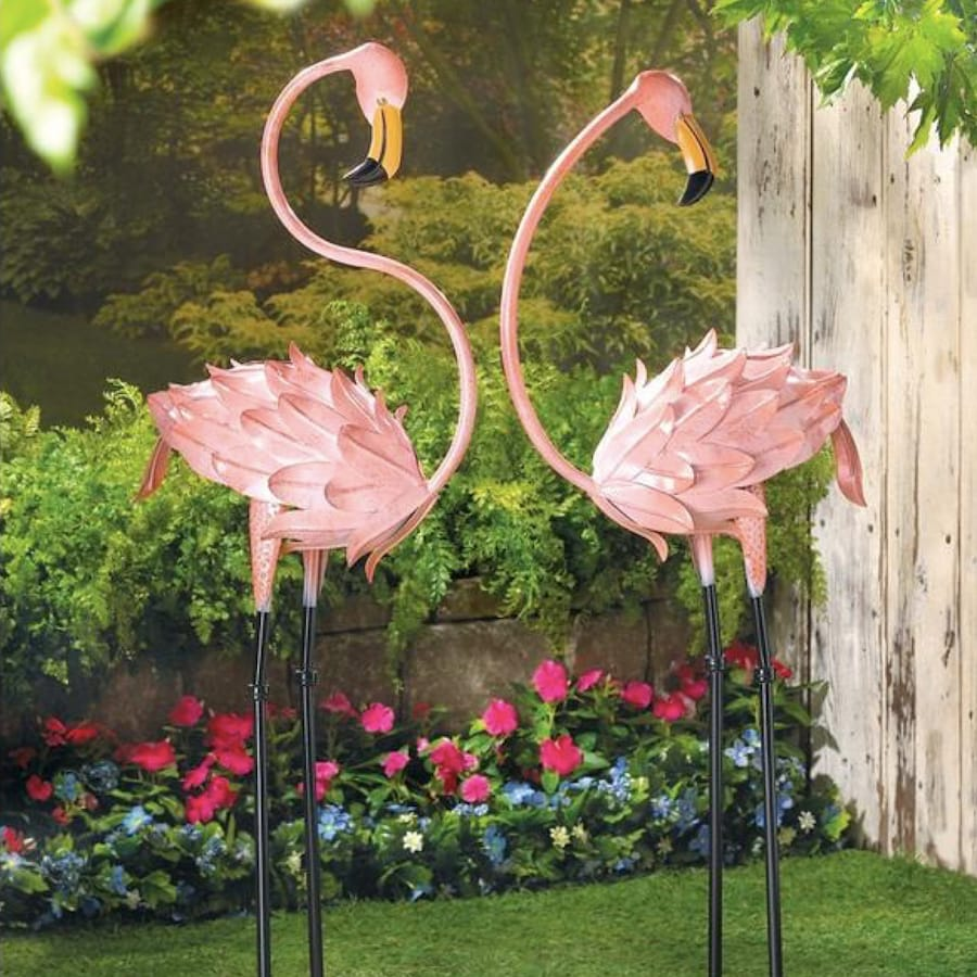 Pink Metal Flamingo Yard Art