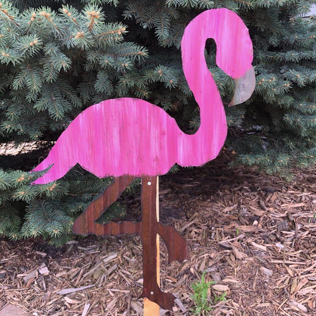 corrugated tin flamingo
